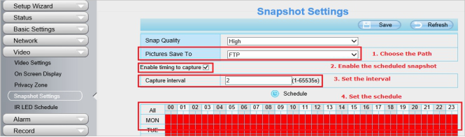 How to upload scheduled snapshots to the FTP Server or SD