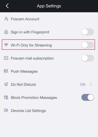 How to disable the Wi-Fi only option in the Foscam App so I can view