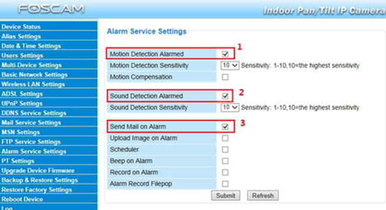 How to set up SD cameras to send alarm emails during alarm events