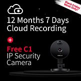 7 Days of Secure Cloud Storage for 12 Months + 1 Free C1 IP Camera